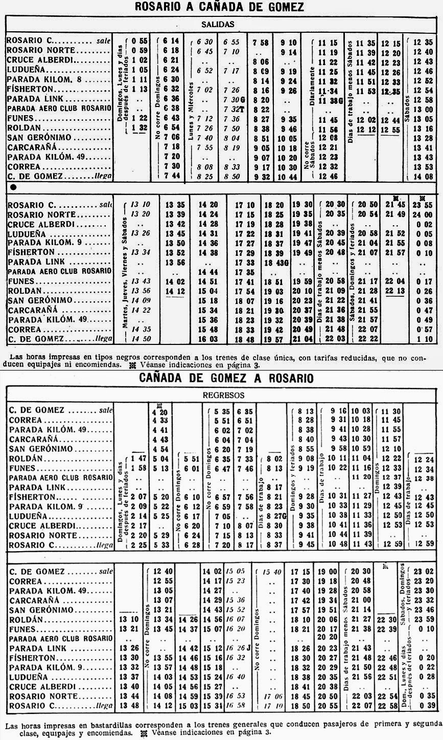 Viejo horario de trenes locales entre Rosario Central y Cañada de Gomez