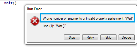 Wrong Number of Arguments Wait in UFT