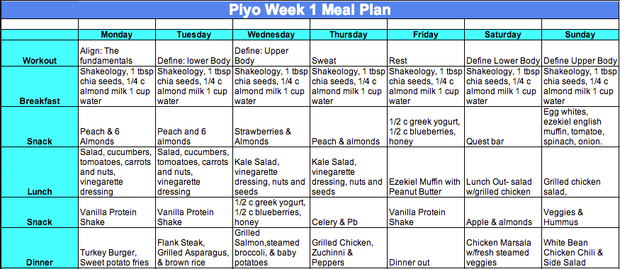 week 1 Piyo Meal Plan
