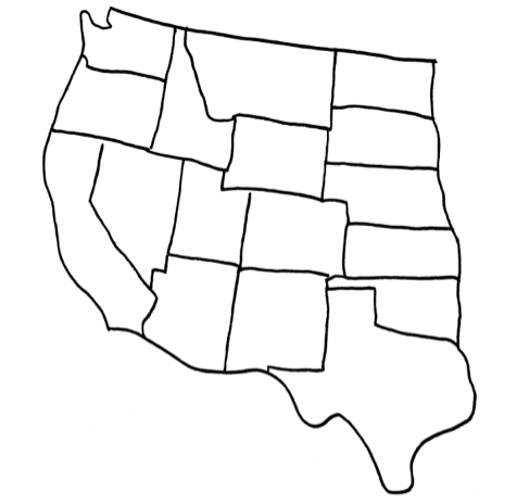 Blank Map Of Western United States - Blank map of western us