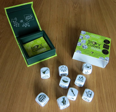 Rory's Story Cubes Voyages, the cubes and the game box