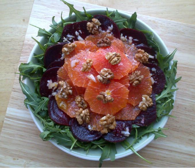 beetroot, blood orange, walnut & rocket salad