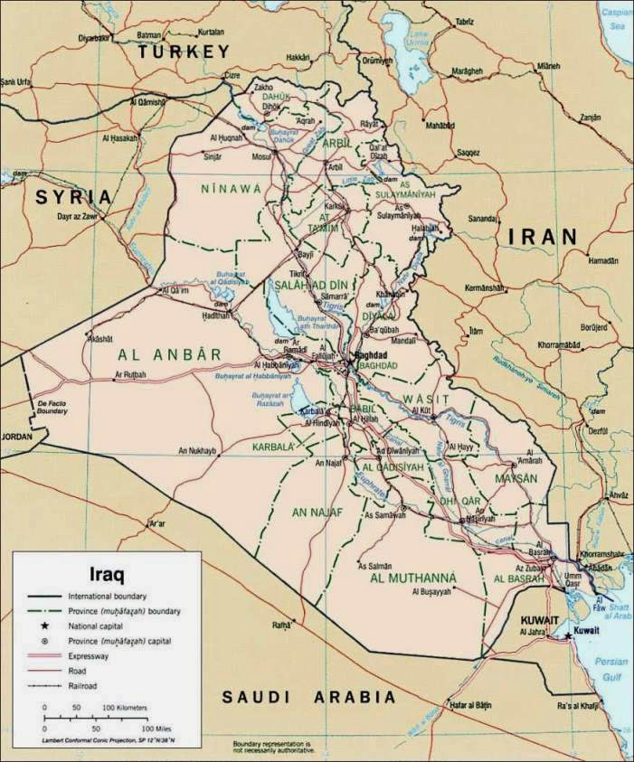 Current map of Iraq showing borders and major cities.