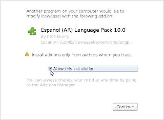 Nuevo paquete de idioma
