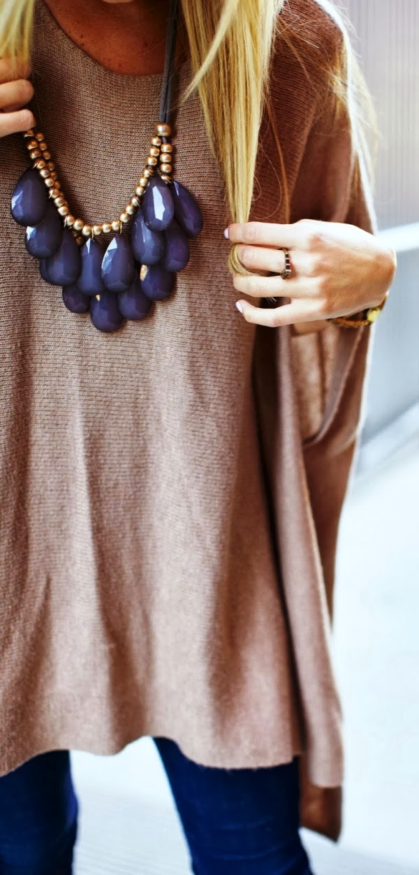 Adorable purple stone necklace and sweater for fall