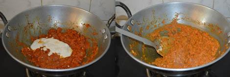 preparing aloo matar gravy