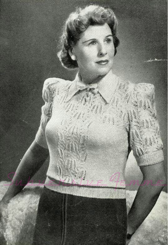 free vintage knitting pattern 1940s stitch in time 1930s plus size large 38 40 42 sweater jumper blouse