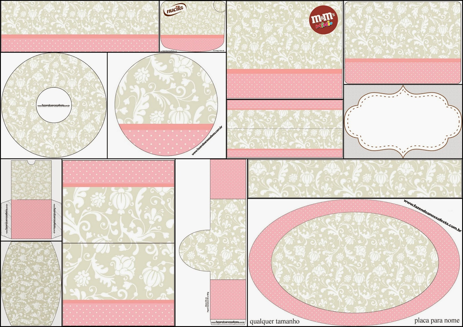 provencal in pink and grey free printable candy bar labels is