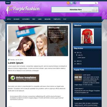 PurpleFashion blogger template. template blogspot magazine style. download free template for fashion blogger
