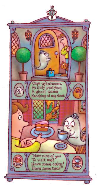 illustration of a silly poem for kids about a ghost