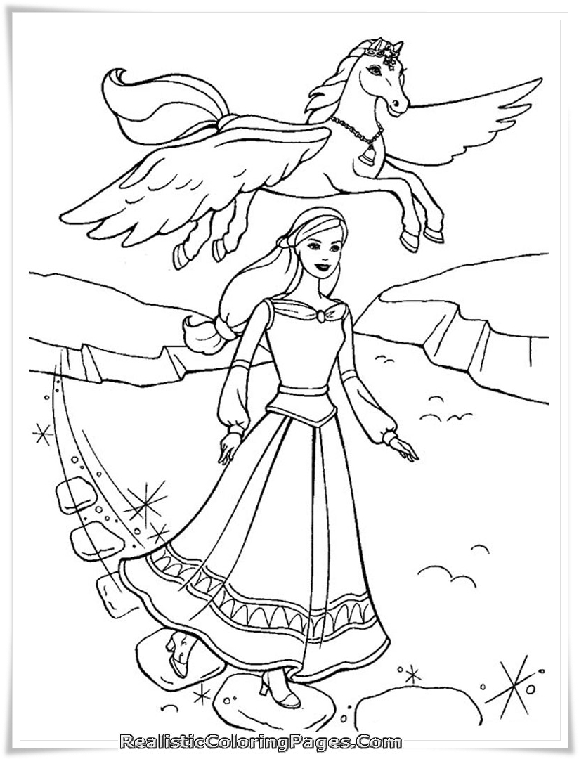 barbie and the magic of pegasus girls coloring pages realistic