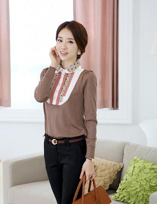 Model Kombinasi Blouse Lengan Panjang Korea dan Span