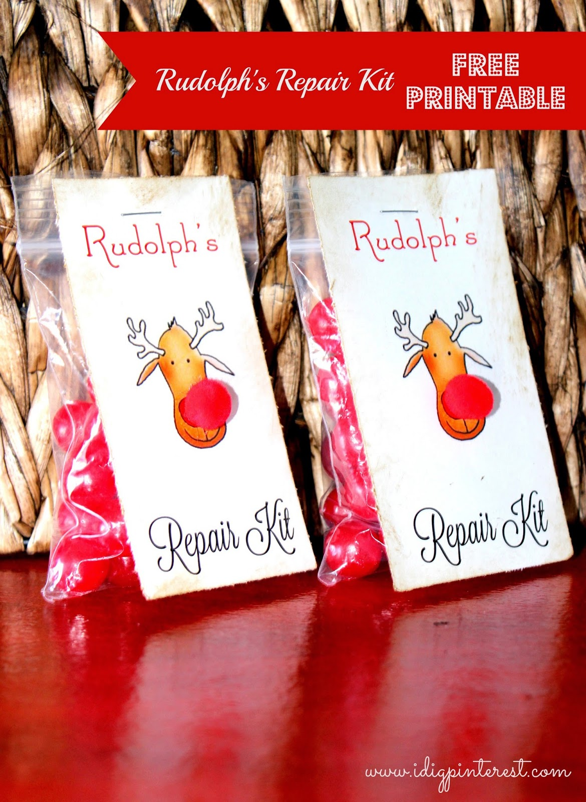 photograph relating to Pin the Nose on Rudolph Printable named Rudolphs Mend Package Absolutely free Printable Choose/Reward Tag - I Dig
