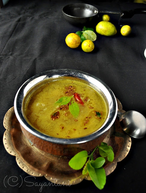 Lebu Pata die Daal (Lentil with lemon leaves)