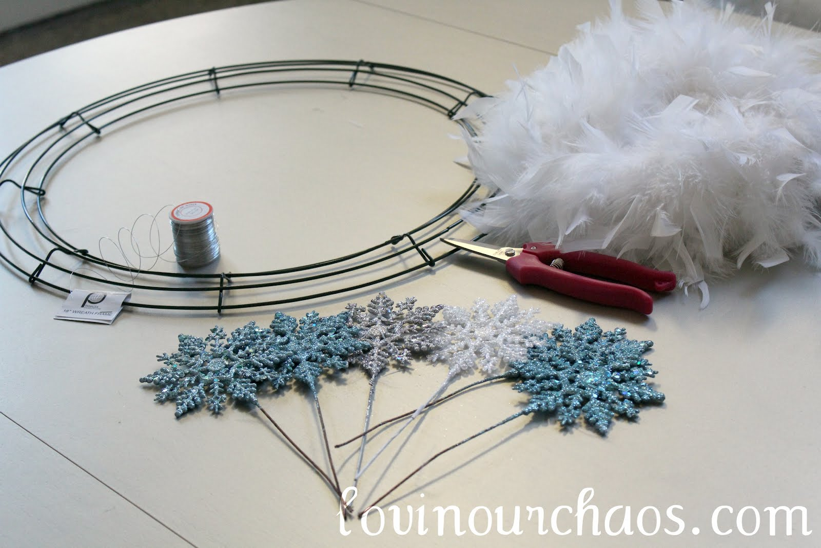 Winter Feather WreathLovin Our Chaos