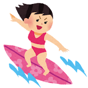 サーフィンをしている女の子のイラスト