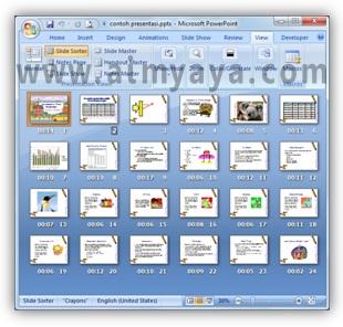Gambar:  Contoh tampilan Slide Sorter view di Powerpoint