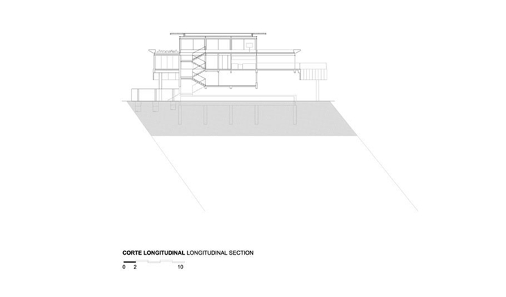 Longitudinal section of AMB House by Jacobsen Arquitetura