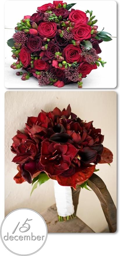 brudbukett jul, julbröllop, vinterbröllop, röda brudbuketter, brudbukett röda rosor, brudbukett amaryllis
