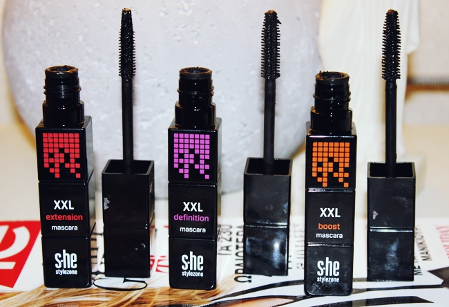 s.he stylezone XXL mascaras- Extension, Definition, Boost. she stylezone maskare. she stylezone makeup/sminka.