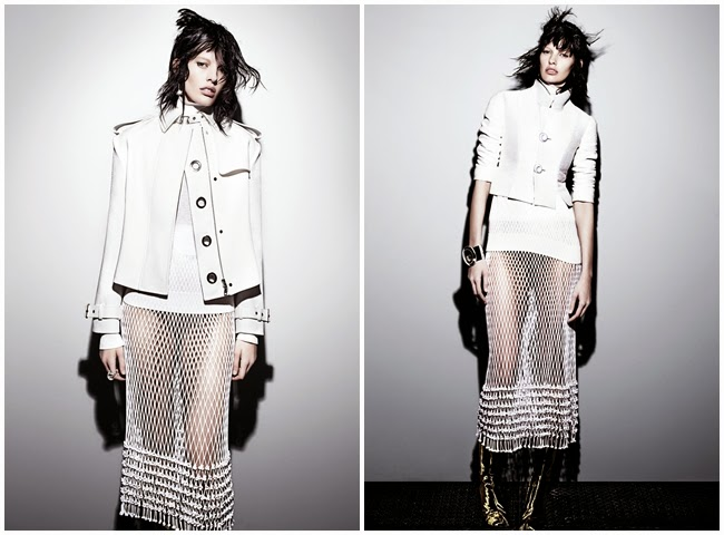 Céline Spring 2014 Editorial: White Fishnet Skirt