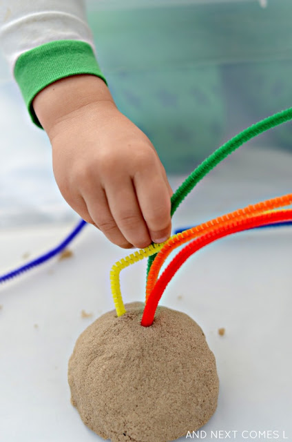 Fine motor activity for kids: kinetic sand rainbows from And Next Comes L