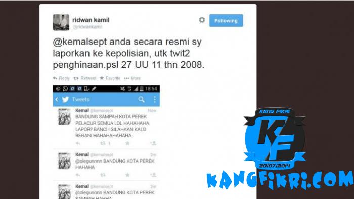 Pemilik akun Twitter @kemalsept di laporkan ke polisi karena menghina kota bandung