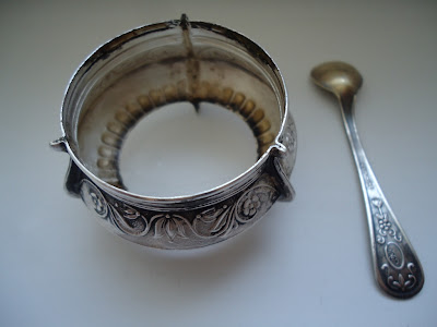 Russian Melhior/Soviet Era Enamel & Silver Alloy Salt marked  5UMMET, Spoon marked 2UMMET