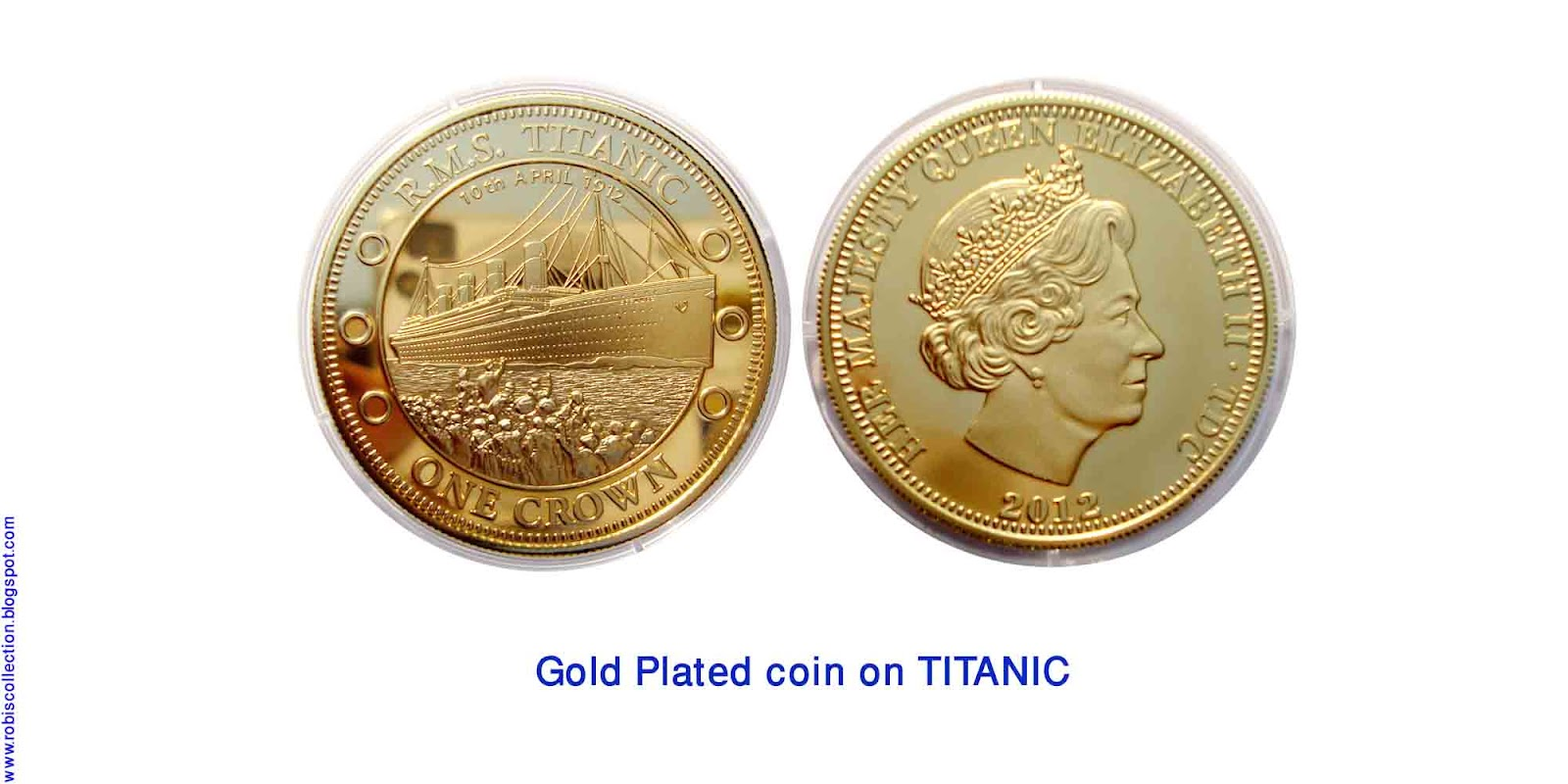 tristan da cunha issued has issued these gold plated proof coins to commemorate the 100th anniversary of the departure and sinking of the titanic in 1912