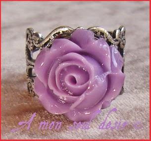 Bague Victorienne Gothique Fleur violette florale floral gothic victorian goth purple flower ring