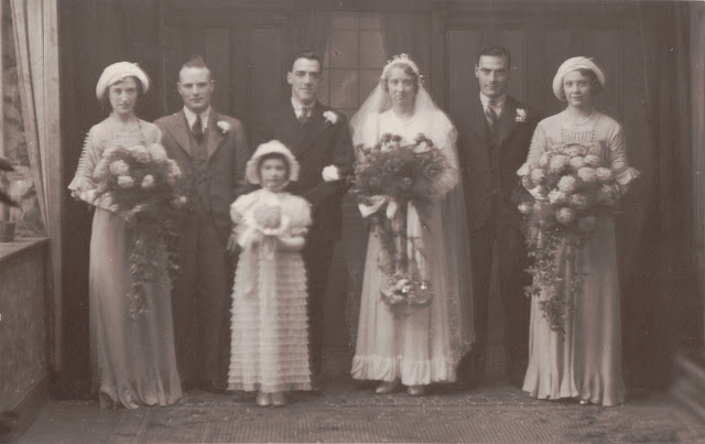 Group wedding photograph of Harold Adams & Hilda Coulson