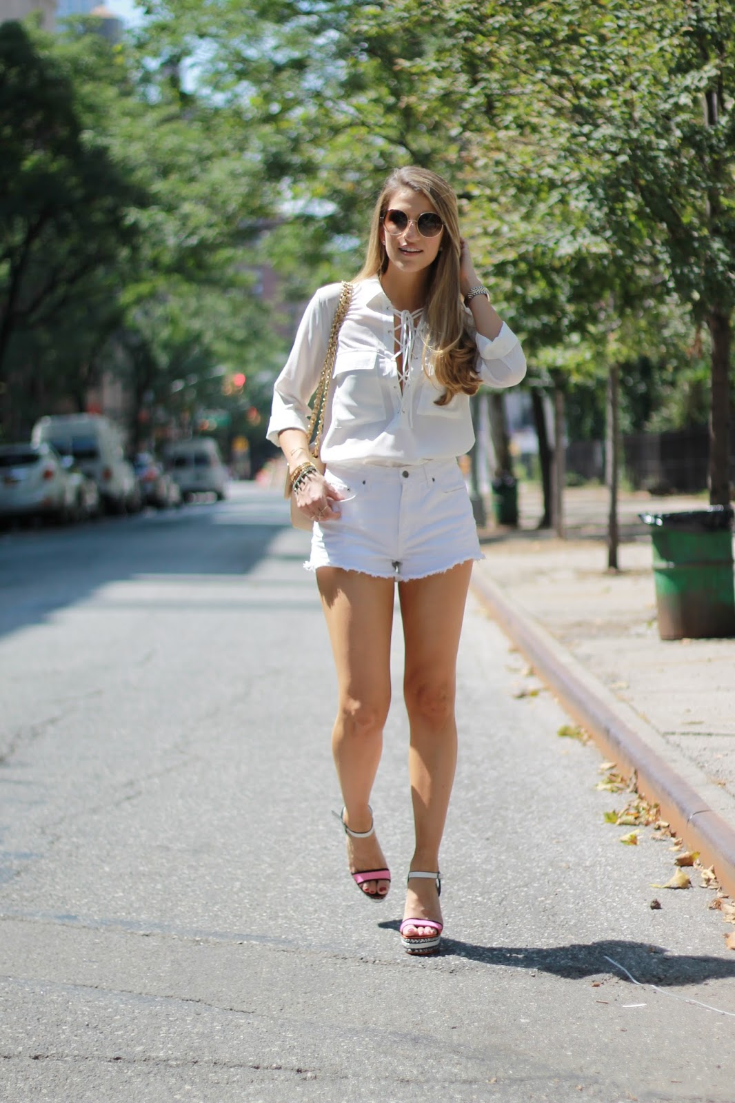 white summer outfit, lace up blouse