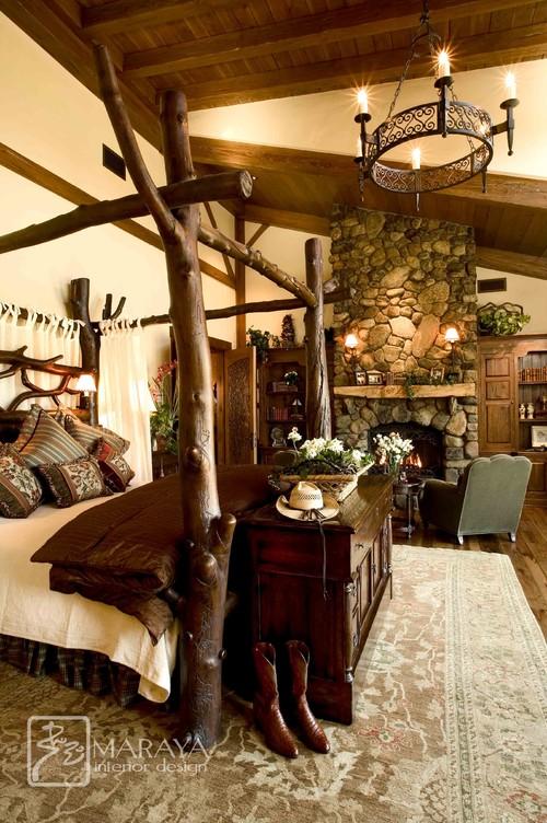 غرفة نوم أنيقة طراز منزل المزرعة بجدران صفراء