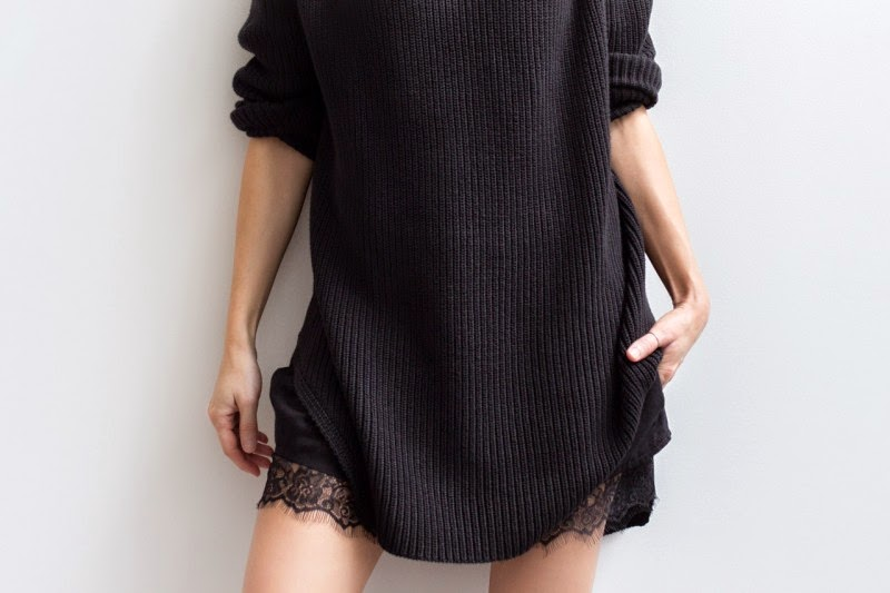 SIMPLE-COZY-FALL-FASHION-OUTFIT-BLACK-SWEATER-LACE-TRIM-SHORTS-VIA-FIGTNY