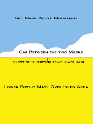 Example showing placement of two separate post-it background masks to create area for sponging in mountains.