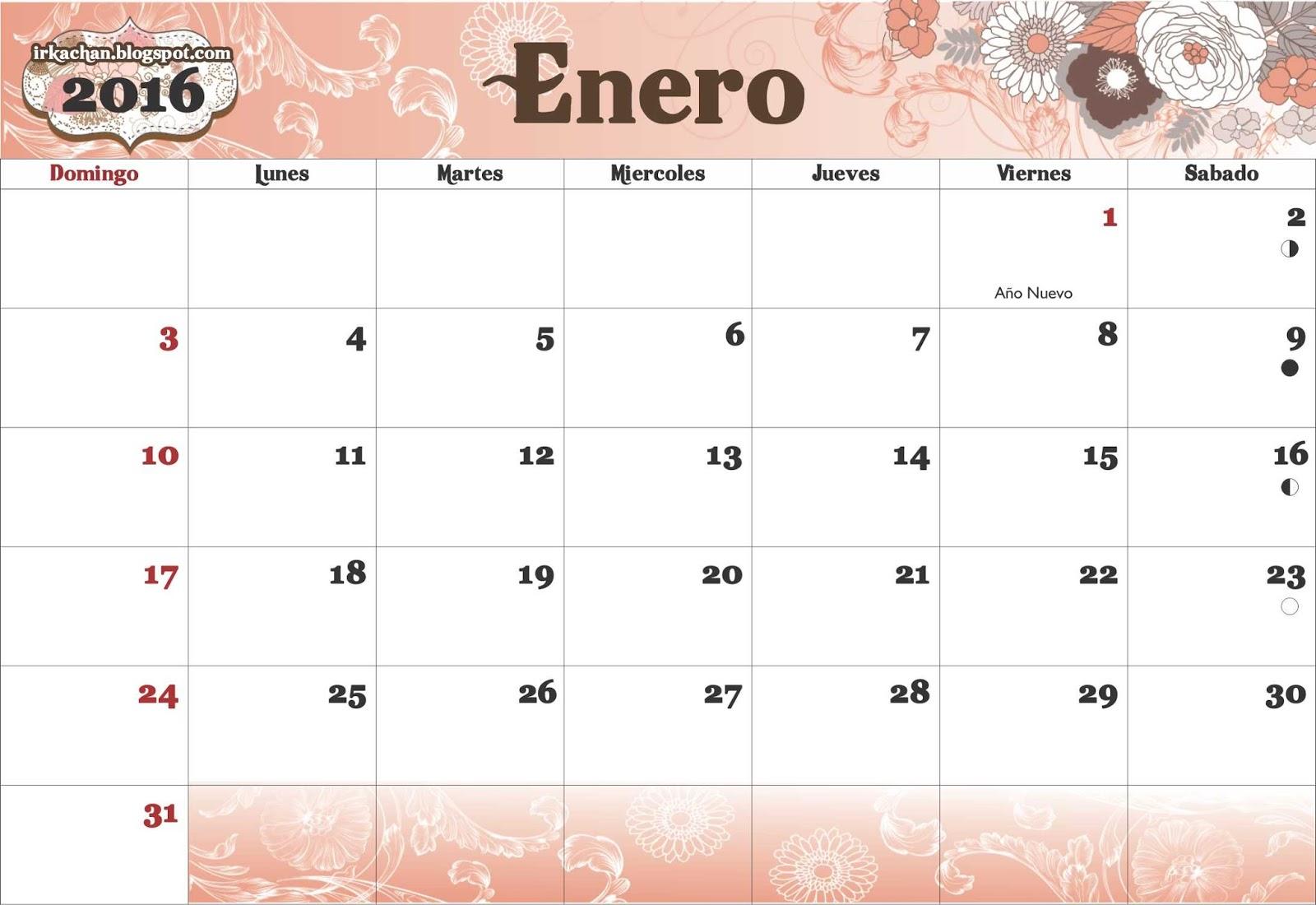 calendario full 2016 este calendario es el clásico un mes