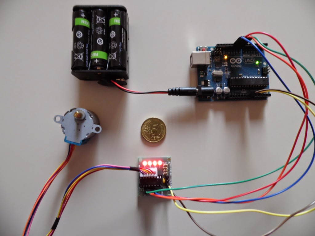 We begin by motor 28BYJ-48 and its datasheet . The motor is already equipped with connector for connection. It is a unipolar stepper motor with 4096 steps ...