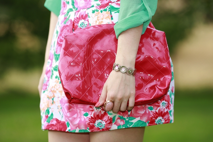 colourful outfit, floral pattern, hot pink bag, aldo, zara, bershka