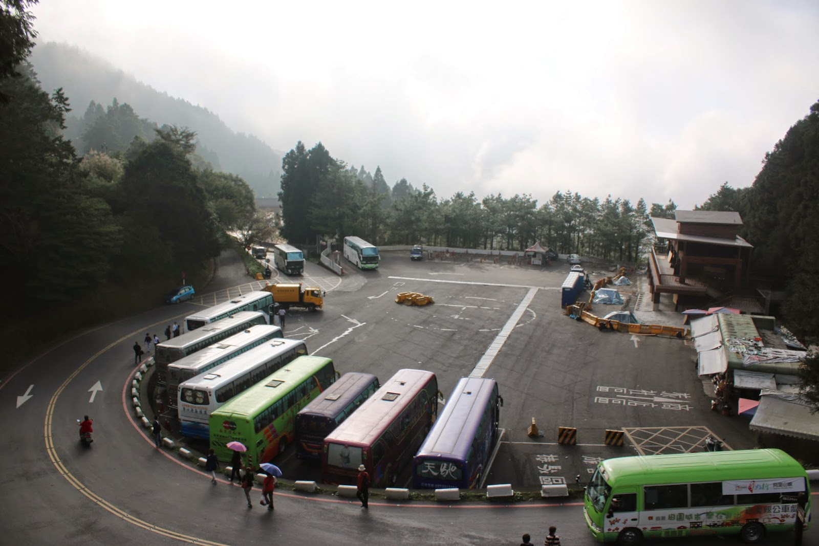 By evening, most of tour buses begin to leave Alishan National Scenic Area in Chiayi County of Taiwan