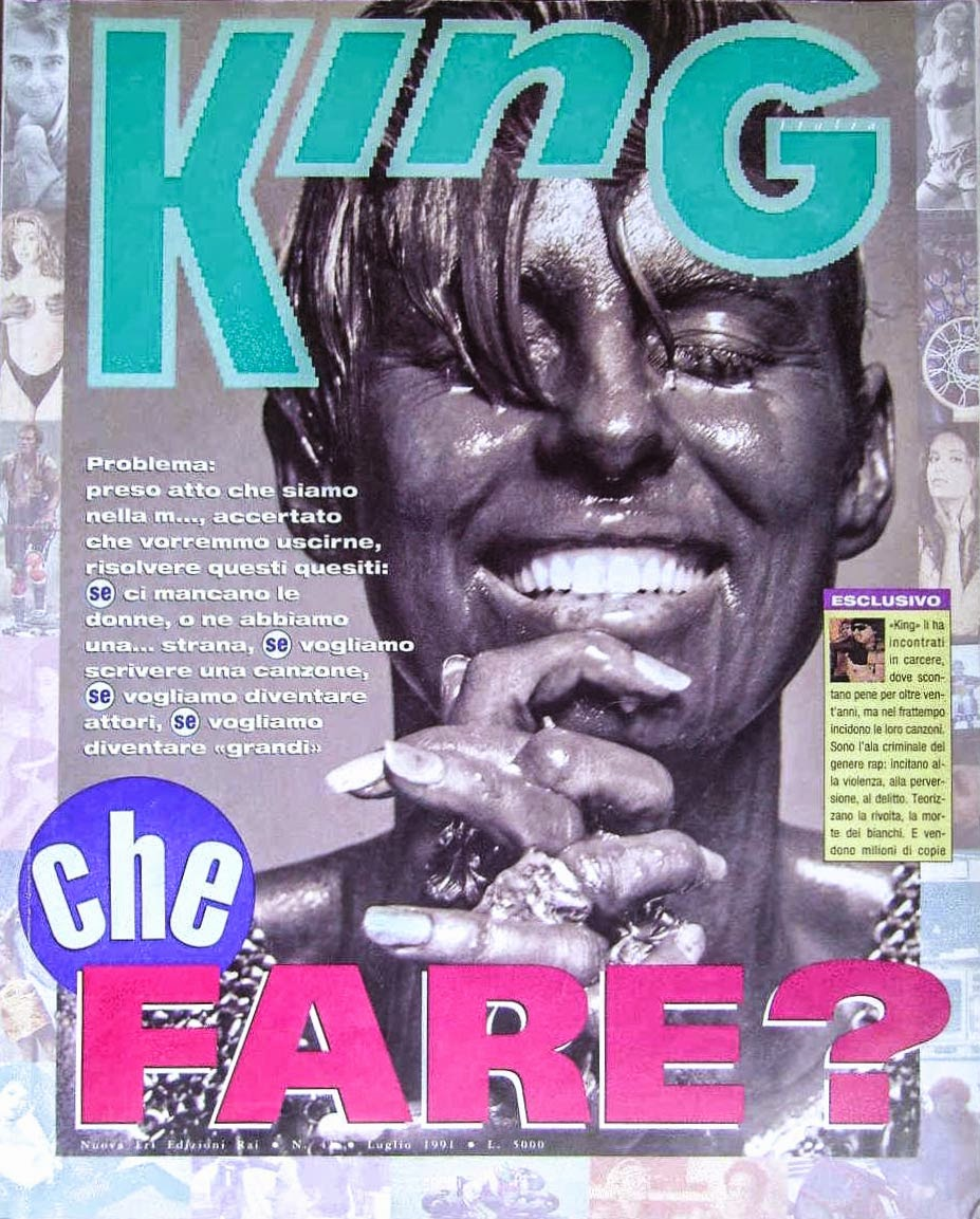 Copertina di un numero della rivista King edizioni Eri RAI