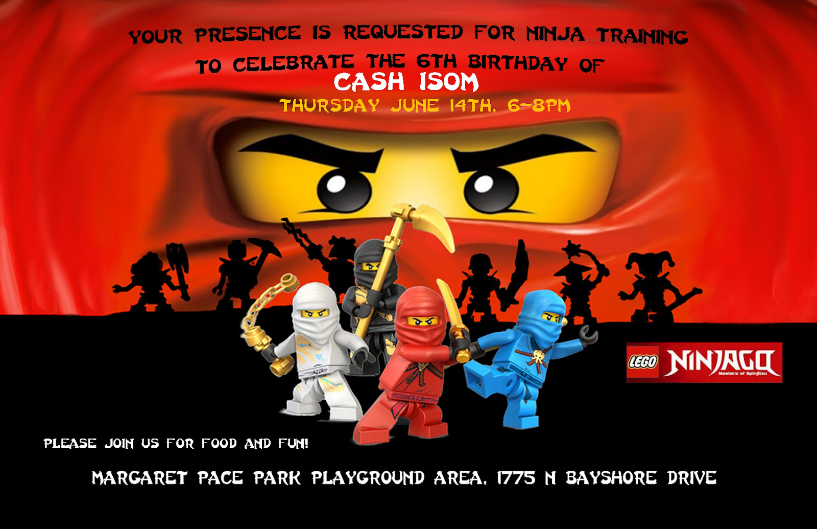 The Isoms Ninjago Birthday Party – Ninjago Party Invitations