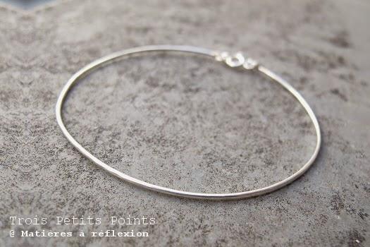 Bracelet jonc rigide en argent Trois Petits Points