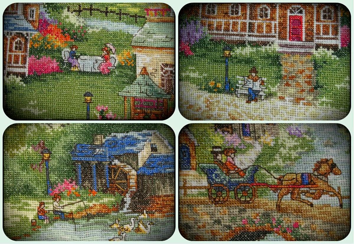 Схема для вышивки зеленая деревенька 7