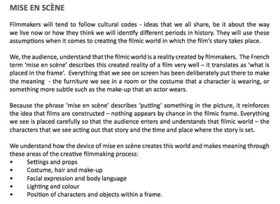 looking at mise en scene in the blind Mise en scène is similar to mise en place when you're analyzing a film's mise en scène, you're judging the visual presentation and the story it tells mise en scène helps create a sense of place, a sense of character, a mood.