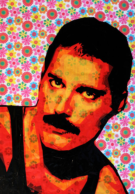 freddie mercury tape art israel street contemporary portrait