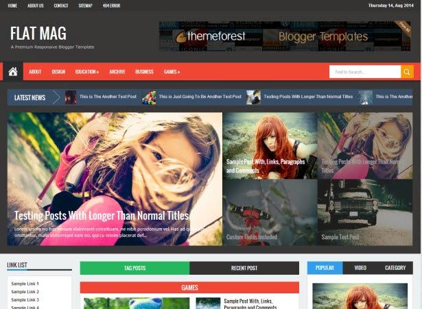 Flat Mag - Responsive Blogger Template