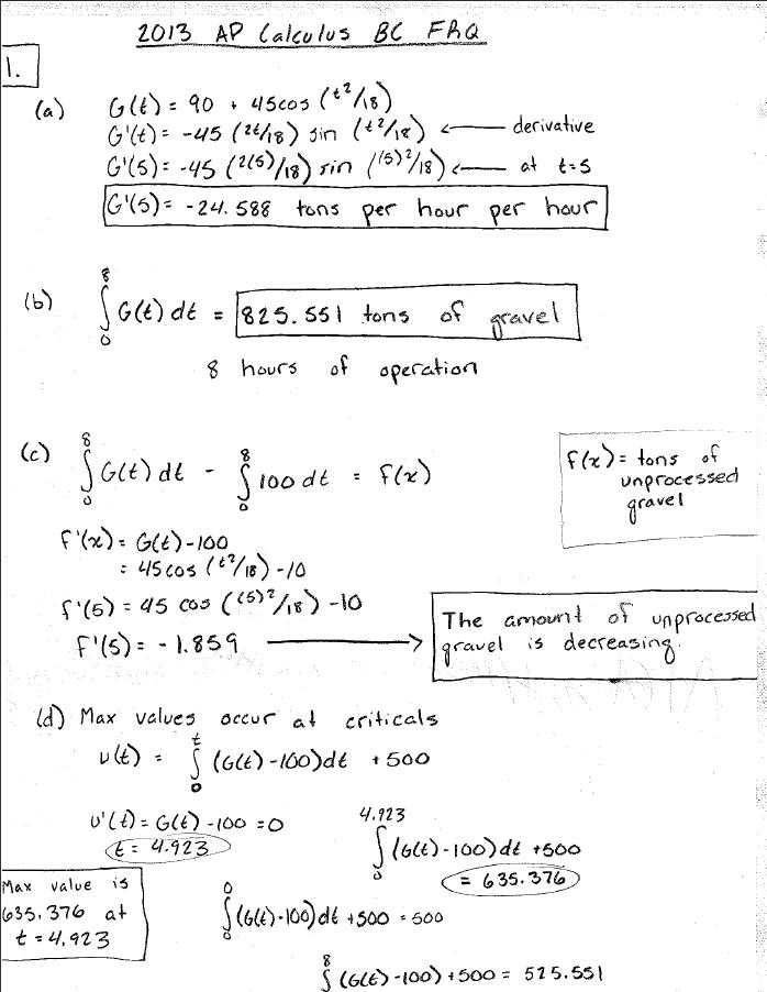 Calculus bc worksheet on area and volume answers