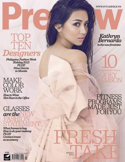 Kathryn Bernardo covers Preview magazine August 2013 issue