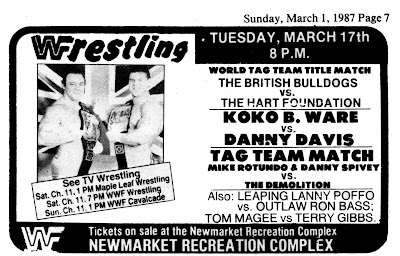 Newspaper clipping advertising WWF in Newmarket Ontario, March 1987