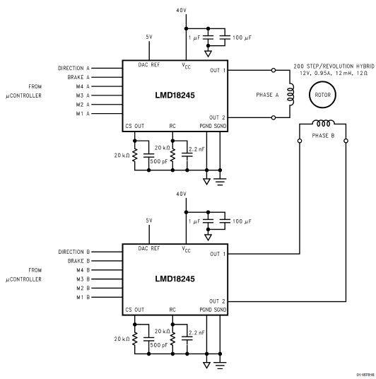 Lmd18245 bipolar stepper motor circuit electronic for Stepper motor driver circuit diagram